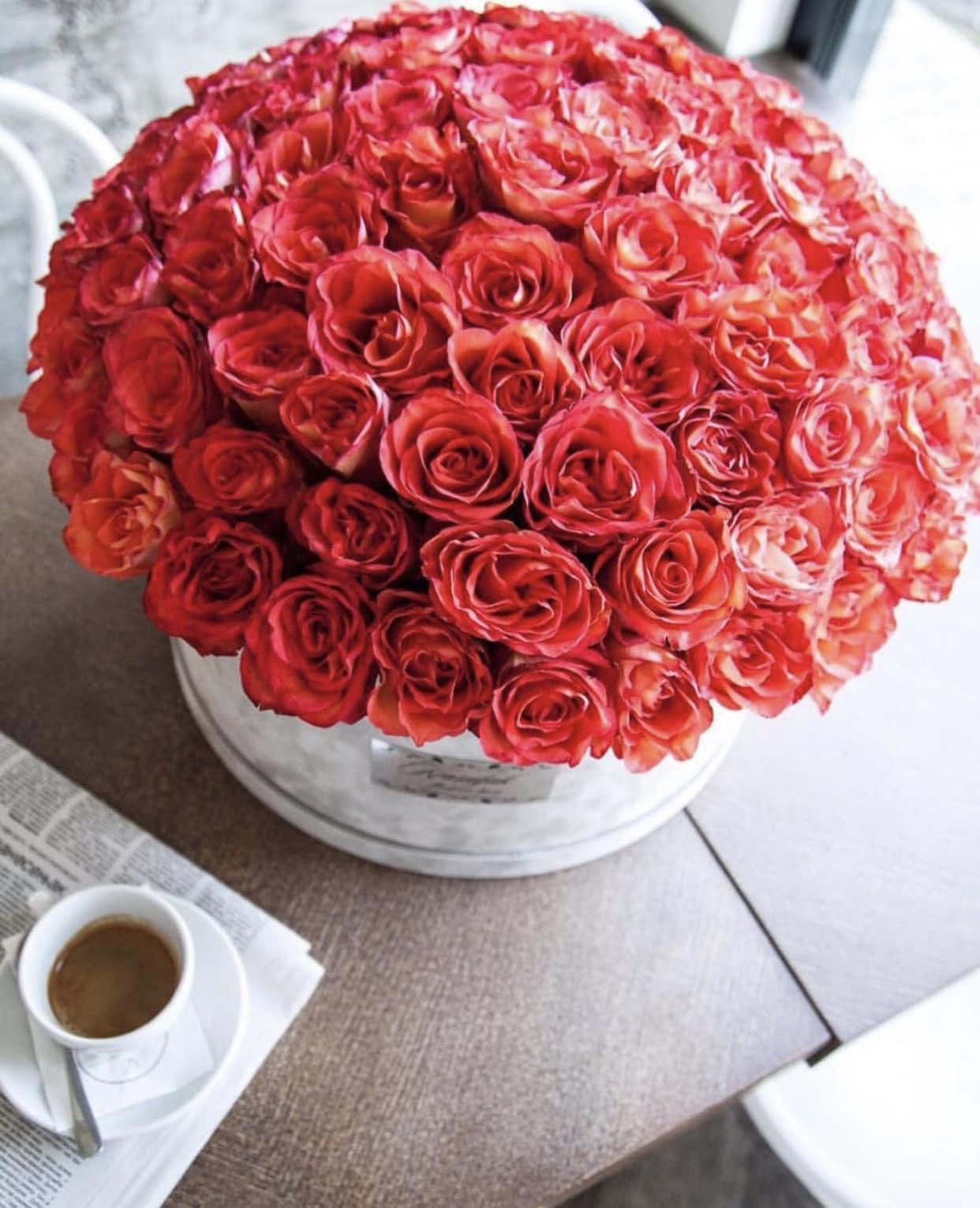 Cvece - Siva plisana kutija sa crvenim ruzama