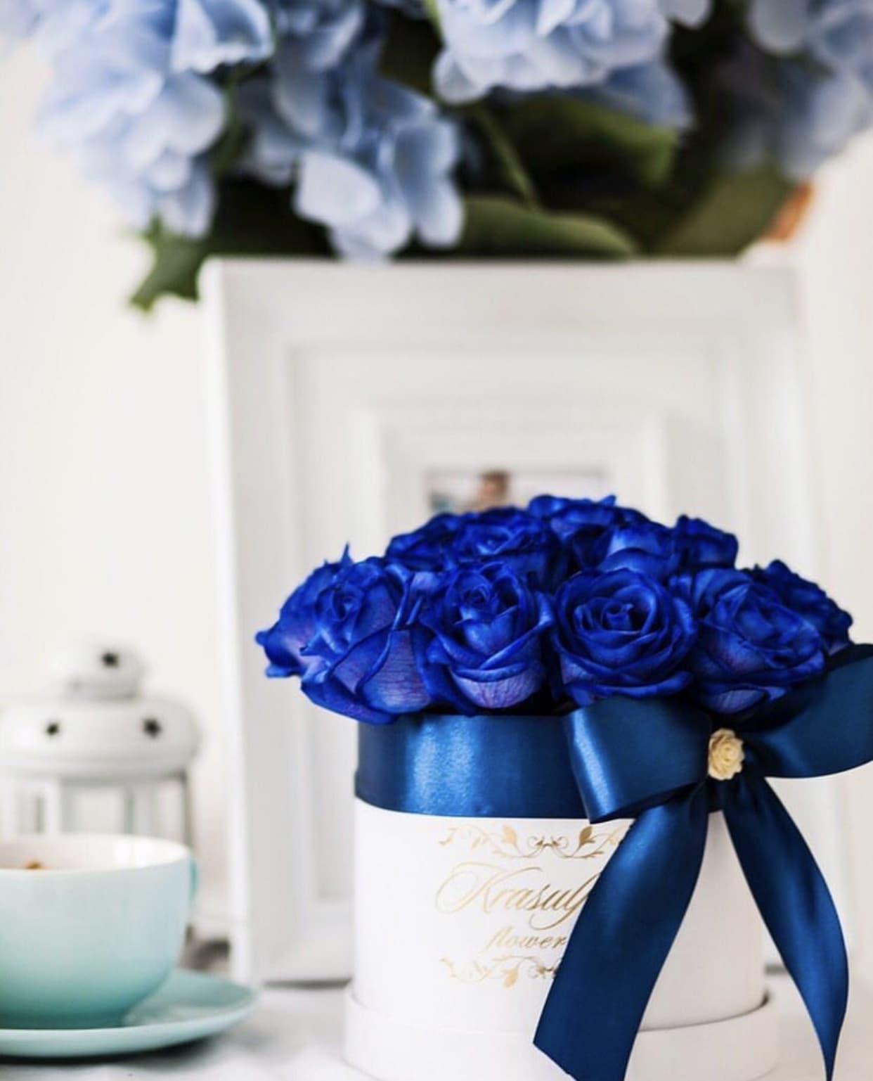 Bela kutija sa plavim ruzama