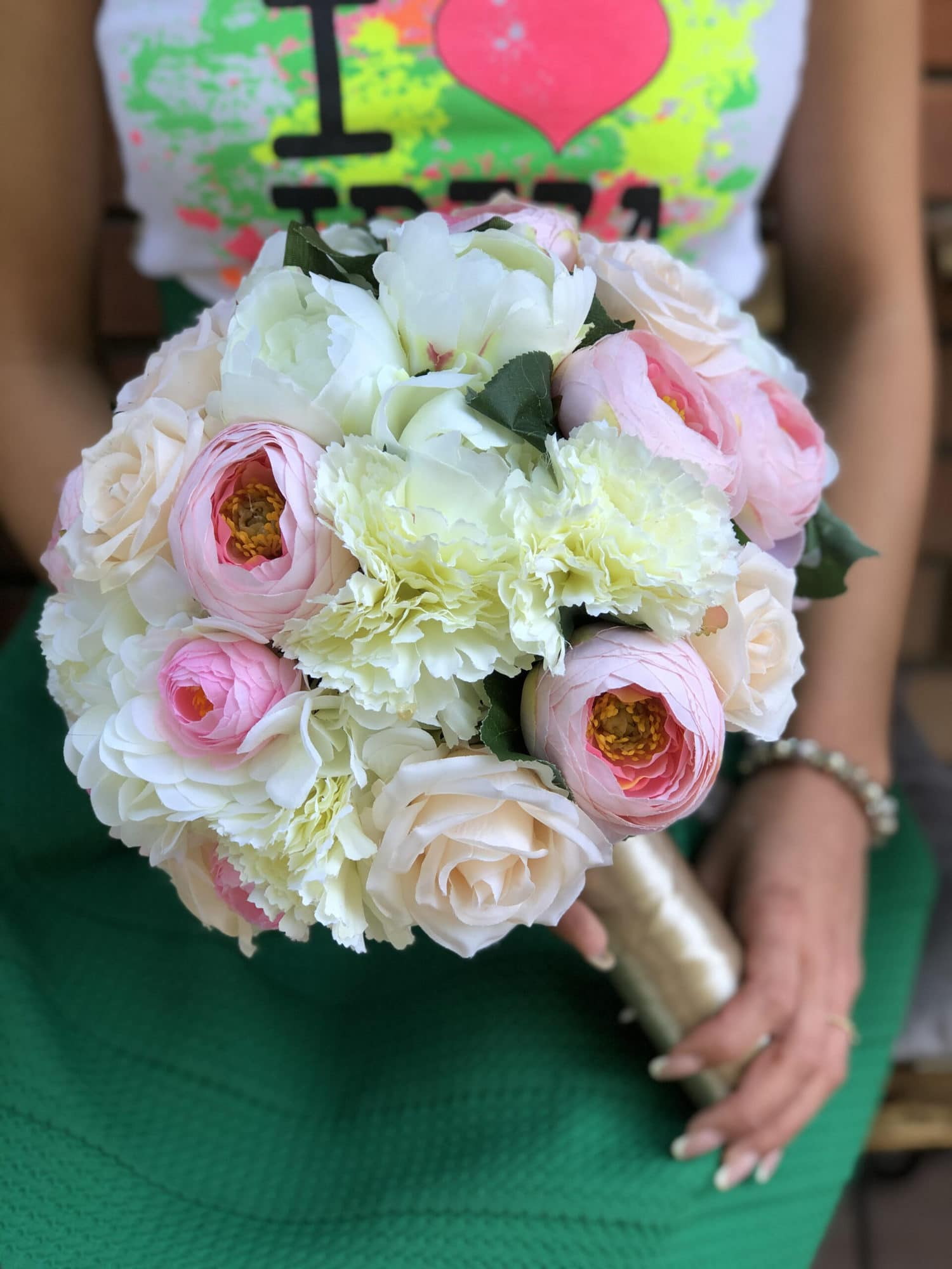 Bidermajer od prirodnog cveca u belo - rozoj boji