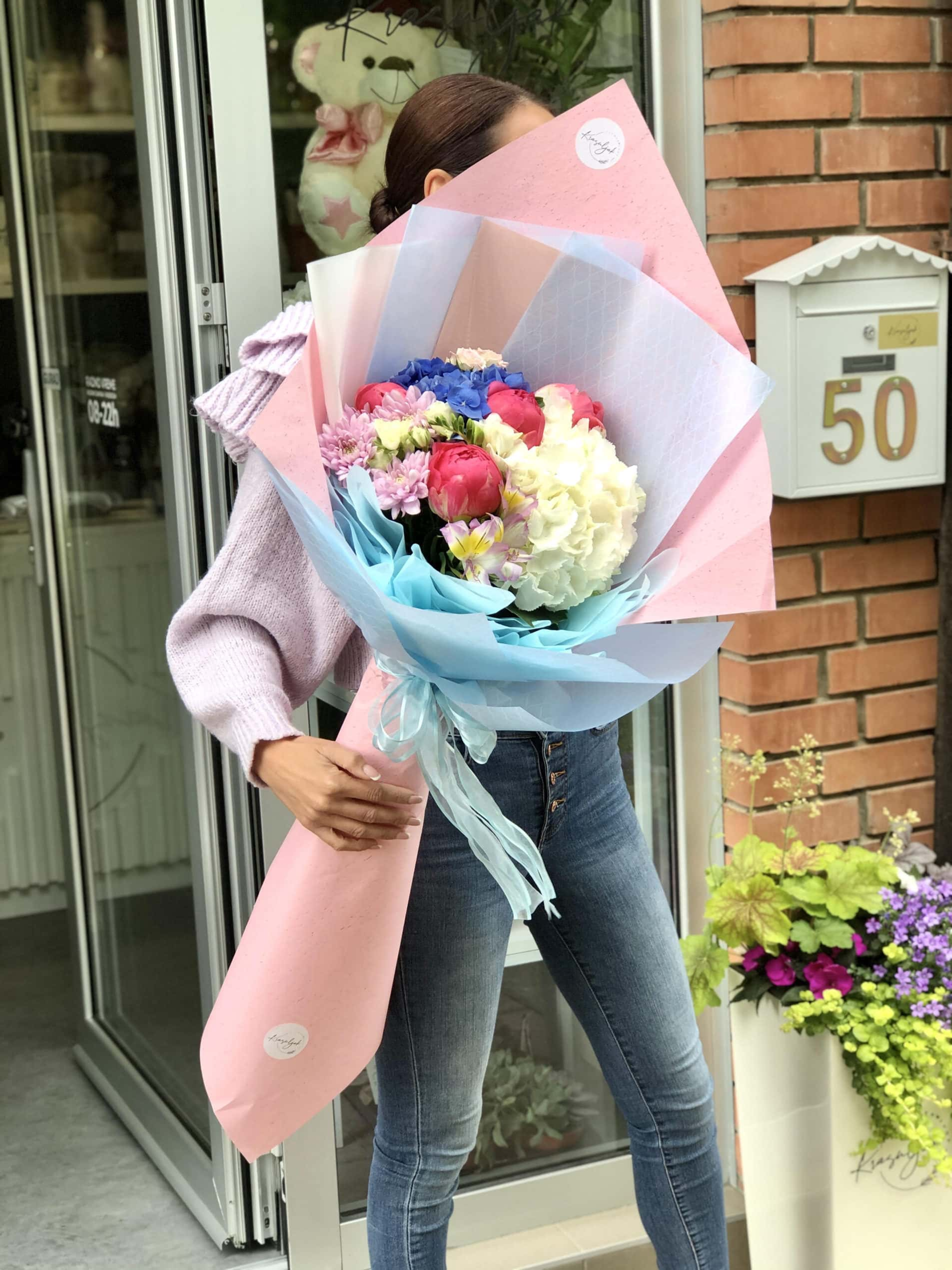 Cveće - buket cveća u rozo plavoj nijansi