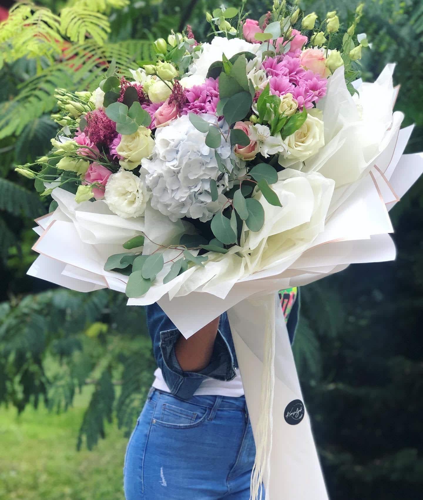 Cveće - Buket cveća, šareni, ukrasni papir, mašna