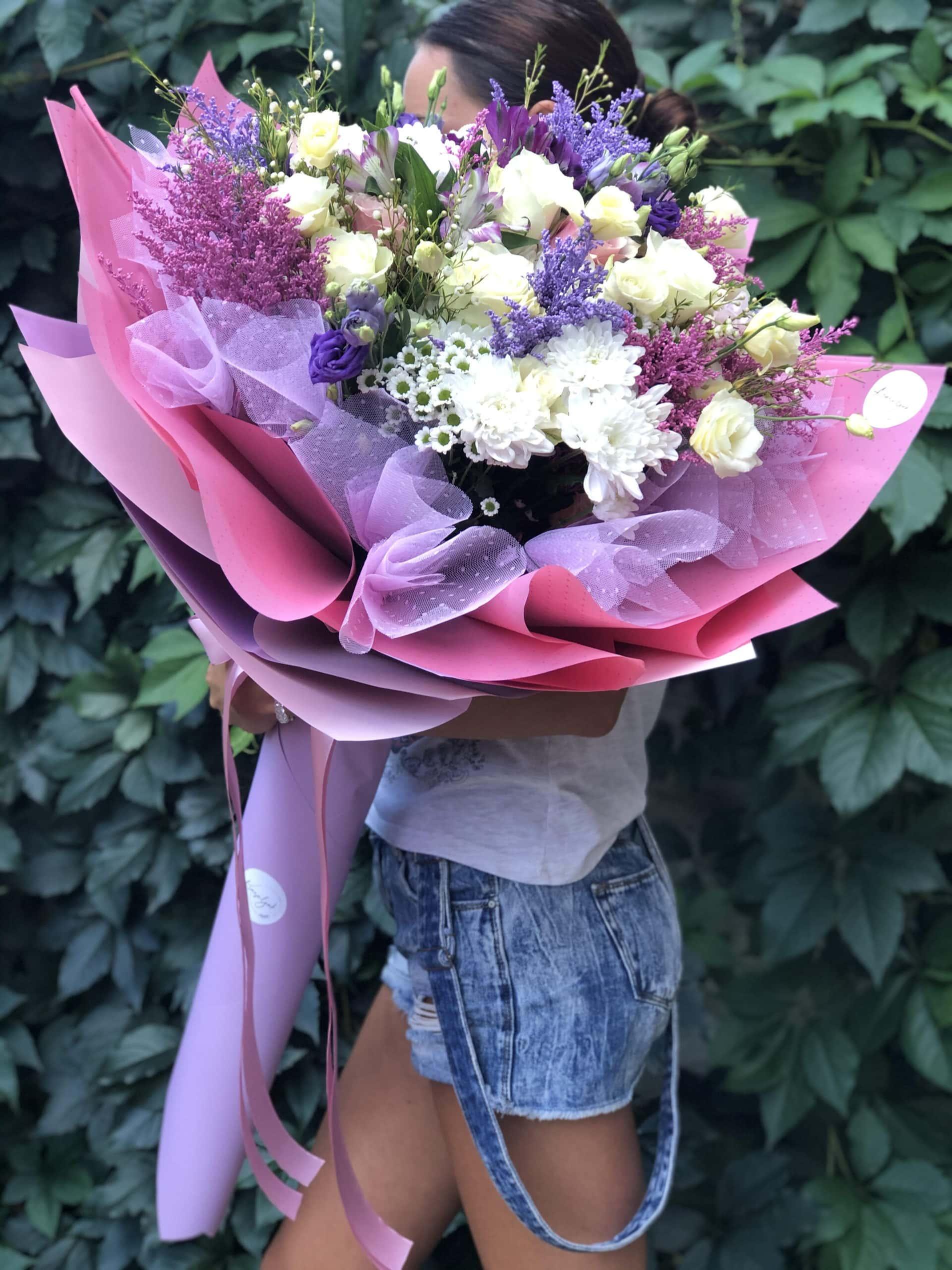 Cveće - buket cveća u mat rozom papairu